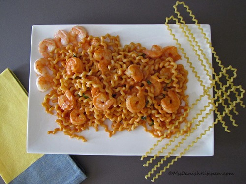 Fusilli Col Buco And Shrimp In Tomato Cream Sauce