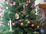 Our Christmas tree with Danish and American flags2010