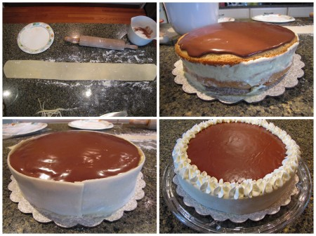 Roll & trim Marzipan, smear cake cream along edge, gently apply Marzipan to edge, decorate seam with whipped cream