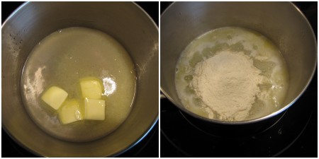 Butter and water brought to a simmer. Add all flour at one time.