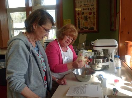 Roberta and Paula making Norwegian Julekake