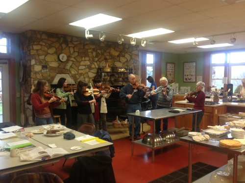 The Fiddle class stopped in and serenaded us. They were well fed.
