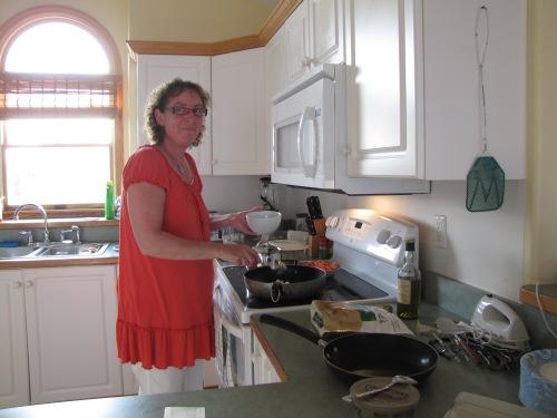 My sister Jonna making Svensk Pølseret