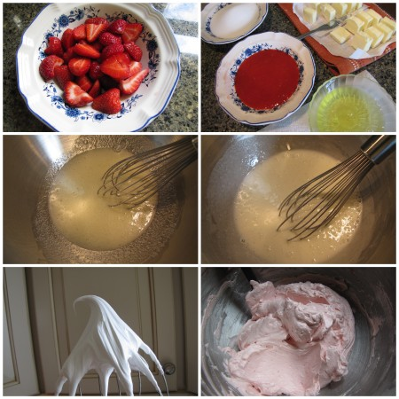 Coarsely chopped strawberries. Strawberry puree and other ingredients. Starting to beat egg whites and sugar over waterbath. Finished beating, making sure they are completely smooth between your fingers. Beating meringue to a stiff, shiny peak. Finished buttercream.