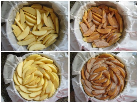 Add apples, sprinkle with cinnamon sugar, pour batter, add more apples, sprinkle with cinnamon sugar and bake.