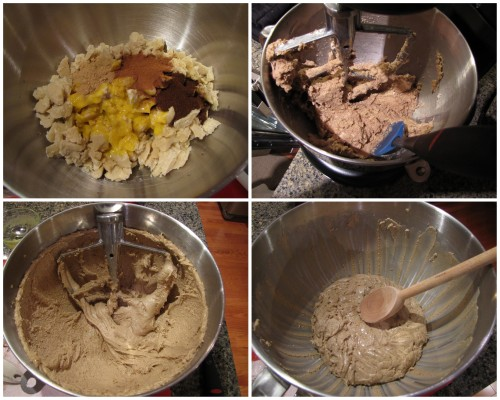 Mixing dough can be a rough ride, chop Pre-dough into small pieces to make mixing easier. Image #2 is dough after 3 minutes of mixing, image #3 is dough after 6 minutes of mixing. Dough will be very sticky.
