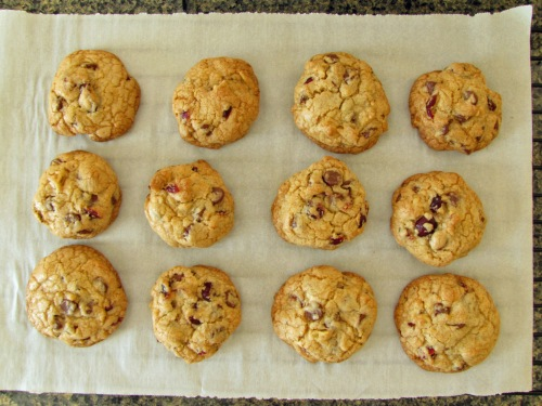 Freshly baked Cranberry-Walnut Chocolate Chip Cookies