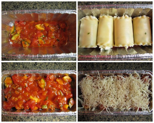 Layer: sauce, rolled up noodles, sauce and a thin layer of cheese.