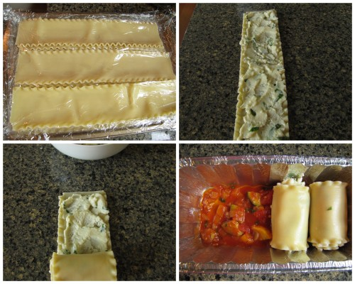 Separate and cover noodles until ready to use. Spread ricotta cheese, roll tightly, place in pan.
