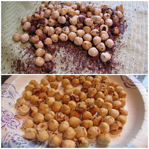 Removing skin off hazelnuts