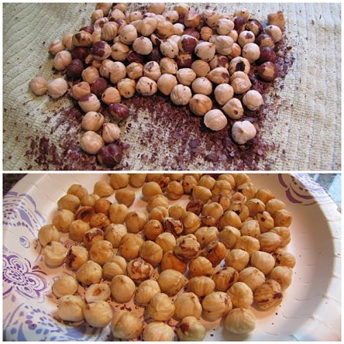 Removing skin off hazelnuts