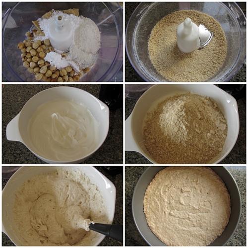 Process hazelnuts, make meringue and fold in ground hazelnuts, bake