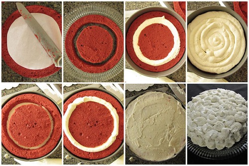 Cutting and assembling cake.