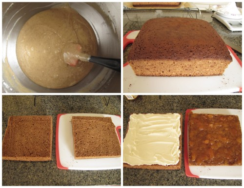 Trim edges off cake if hard, cut cake horizontally into two, spread buttercream and apricot and fold layers together